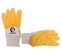 Перчатки х/б с желтым нитриловым покрытием INTERTOOL (упаковка 12 пар)