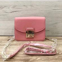 Стильный клатч на цепочке в стиле Фурла со вставкой на плечо (0155) Розовый