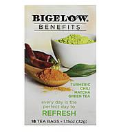 Чай Bigelow Benefits, Обновление, матча, куркума, чили, зеленый чай, 18 чайных пакетиков