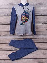 Спортивный костюм из трикотажа ангора-софт начёс с сублимацией (синий, серый)