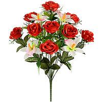 Букет атласных роз с орхидеями, 54 см, фото 1