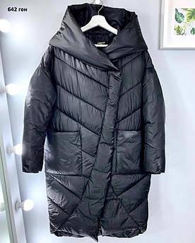 Пальто жіноче теплий з капюшоном 642 ген