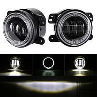 Противотуманные LED фары с ангельскими глазками (DRL), OVOVS, комплект 2 шт.