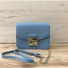Стильный клатч на цепочке в стиле Фурла со вставкой на плечо (0155) Голубой