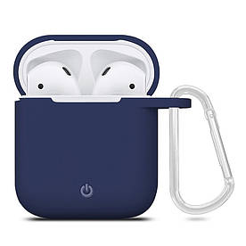 Силиконовый чехол футляр для наушников AirPods с карабином, Синий