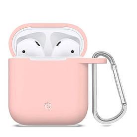Силиконовый чехол футляр для наушников AirPods с карабином, Розовый