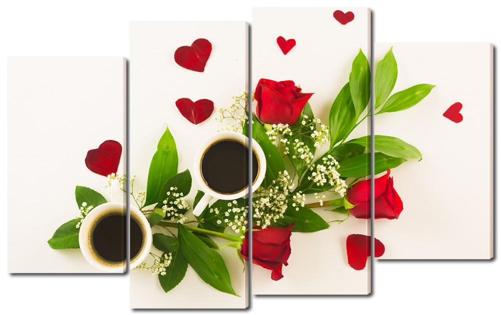 Модульная картина Чай Розы и кофе Код: W2430
