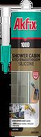 Санитарный силиконовый герметик для ванных комнат и душевых кабин Akfix 100D прозрачный 310мл