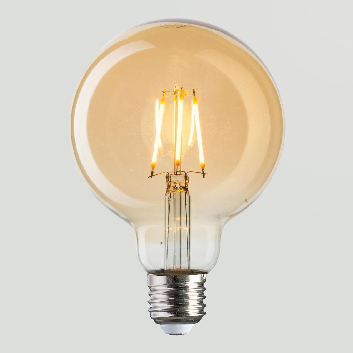Винтажная лампа  Шар  Filament globe G-95 4W
