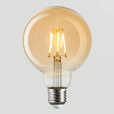 Винтажная лампа  Шар  Filament globe G-95 4W, фото 2