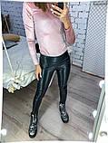 Жіночі чорні легінси екокожа стрейч 48-52 розм., фото 2
