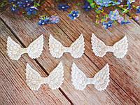 "Патчи ""Крылышки ангела"", крупный глиттер, цвет белый с перламутром, 50х35 мм, 1 шт."