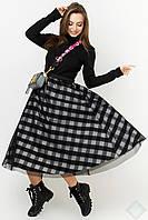 Стильная двойная юбка с сеткой Фантазия 42-48 размеры белая клетка с черным