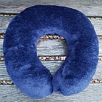 Подушка рогалик под голову в машину синяя