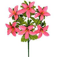 Искусственные цветы оптом букет лилейник искусственный с пышной зеленью, 32см, фото 1