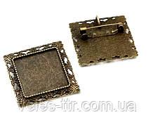 Основа для броши - кулона Сеттинг под кабошон квадратная бронза 35х35 мм кабошон 25х25 мм