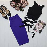 Красивый женский костюм летний топ с завязками и юбка