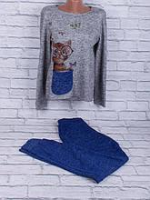 Спортивный костюм из трикотажа ангора-софт с сублимацией на ткани (яркий электрик, синий, серый)