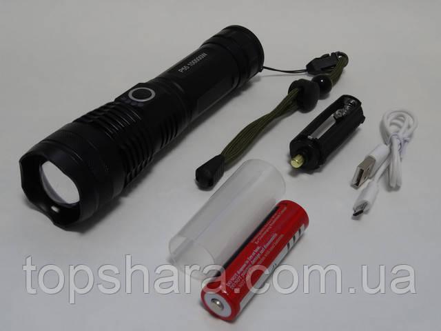 Фонарь ручной Police P55 (USB, zoom, диод P-50, 4 режима, 100000W) Black