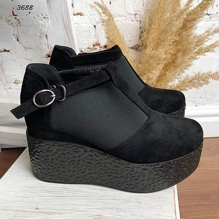 Туфли женские замшевые на танкетке, фото 2