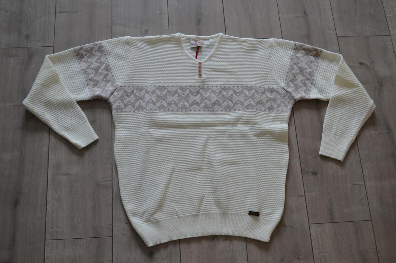 Мужской свитер KAMENI Молочный (размеры 4XL, 5XL)