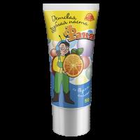 """Детская зубная паста""""ФАНЯ""""(50мл) Со вкусом апельсина, на основе высококачественного абразива диоксида кремния."""