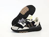 """Кроссовки мужские Adidas Nite Jogger """"Черные с бежевым"""" р. 42, 43, фото 1"""