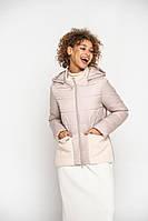 Романтичная весенняя куртка с карманами лиловая 42-56