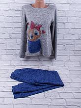Спортивный костюм из трикотажа ангора-софт с сублимацией на ткани (синий, серый)