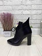 35 р. Ботинки женские деми черные кожаные на высоком каблуке,демисезонные,из натуральной кожи,натуральная кожа, фото 1