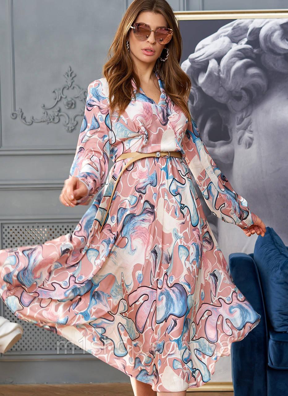 Женское расклешенное платье с имитацией запаха (Агата jd)