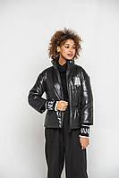 Лаковая черная куртка с трикотажными манжетами 42-56