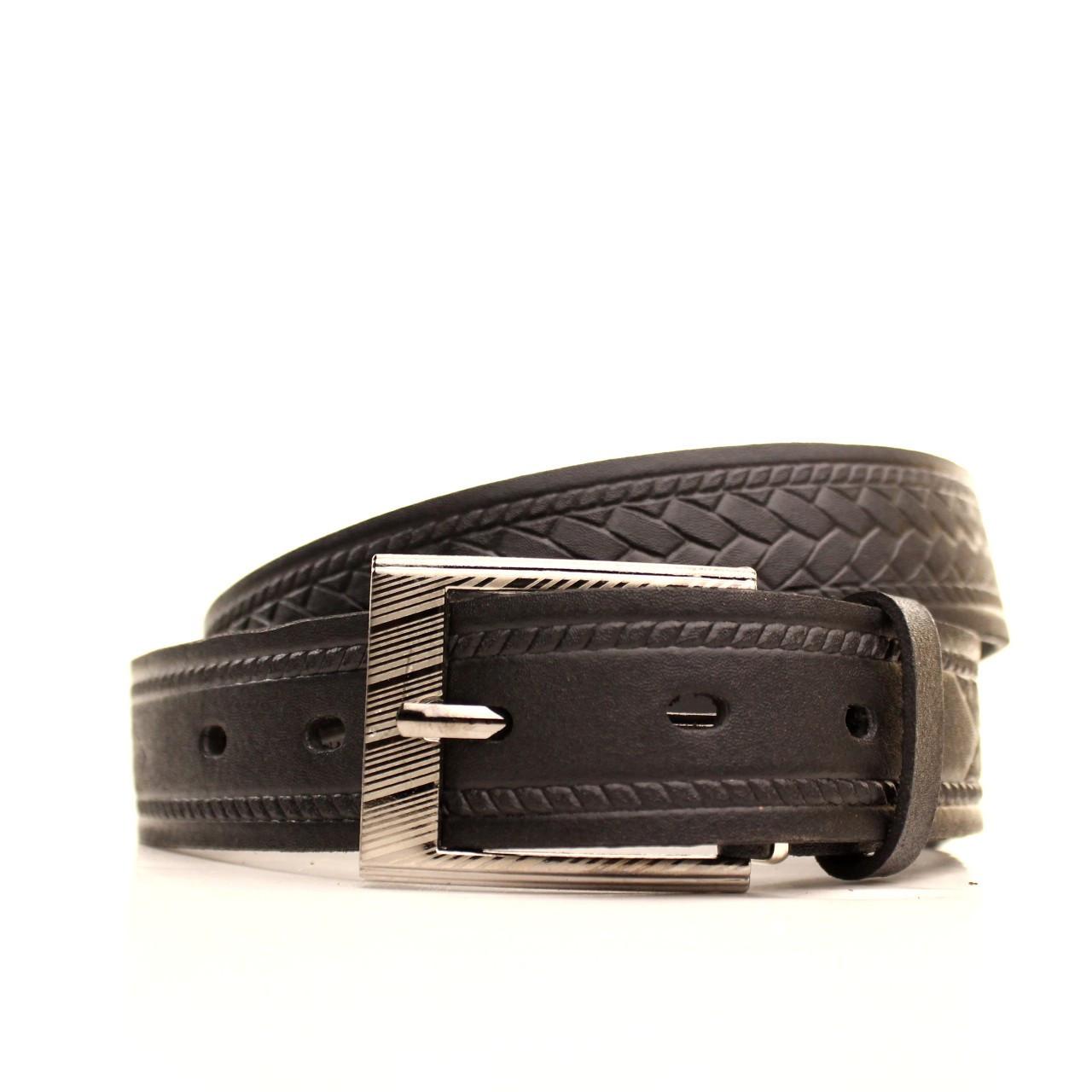 Ремень Lazar кожаный черный L30S1W8 120-125 см