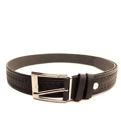Ремень Lazar кожаный черный L30S1W8 120-125 см, фото 2
