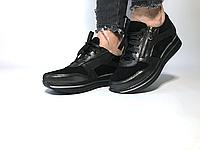 Женские черные кожаные туфли с замочком на низком ходу