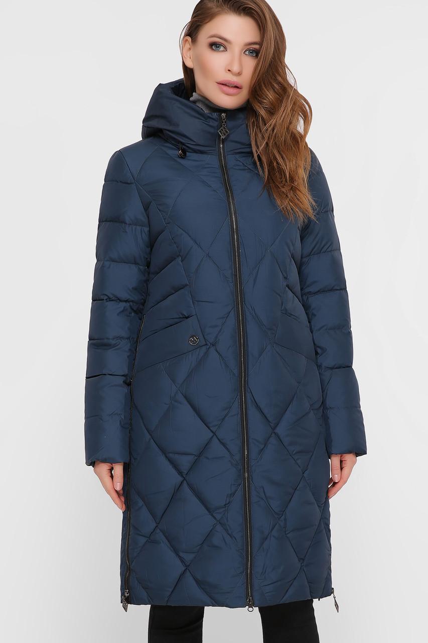 Длинная стеганная женская куртка, прямого кроя S M L XL 2XL
