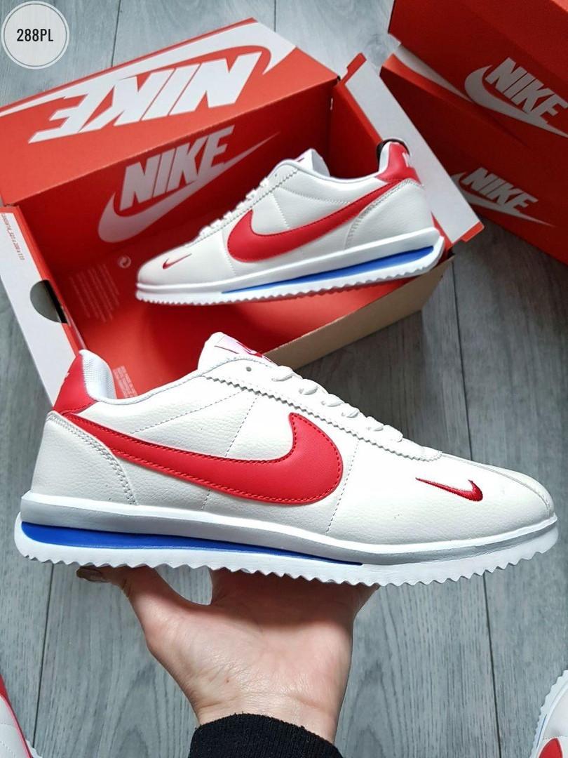 Мужские кроссовки Nike Cortez (бело-красные) 288PL