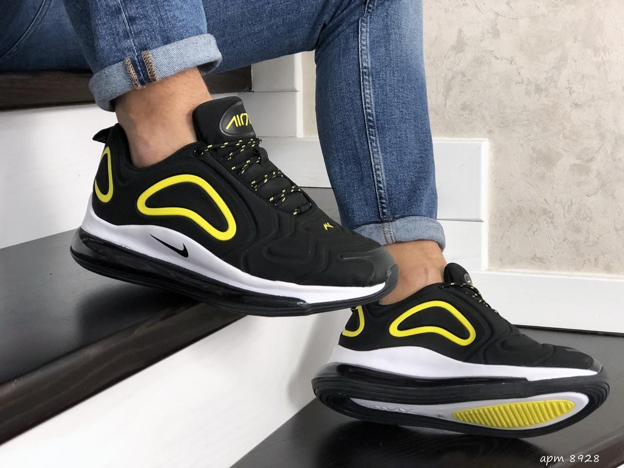 Мужские кроссовки Nike Air Max 720 (черно-белые с желтым) 8928