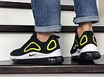 Мужские кроссовки Nike Air Max 720 (черно-белые с желтым) 8928, фото 4