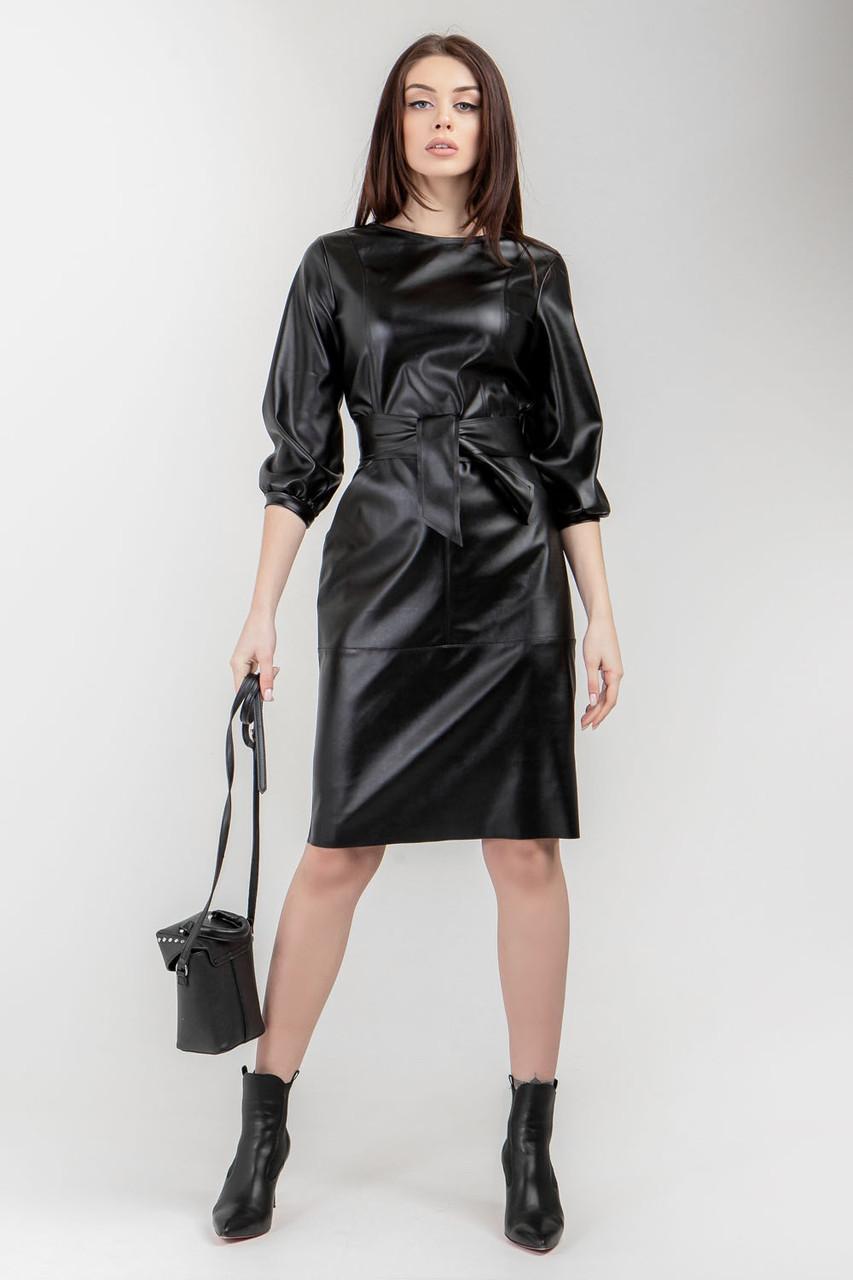 Стильное кожаное платье 42, 44, 46 размеры