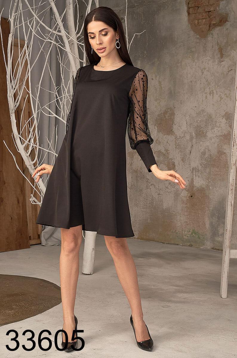 Свободное женское платье рукава из сетки 42-44,46-48
