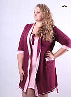 Женский комплект в роддом халат и сорочка, для беременных и кормящих мам бордо р.42-54