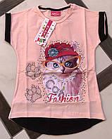 Стильная футболка с котом для девочки