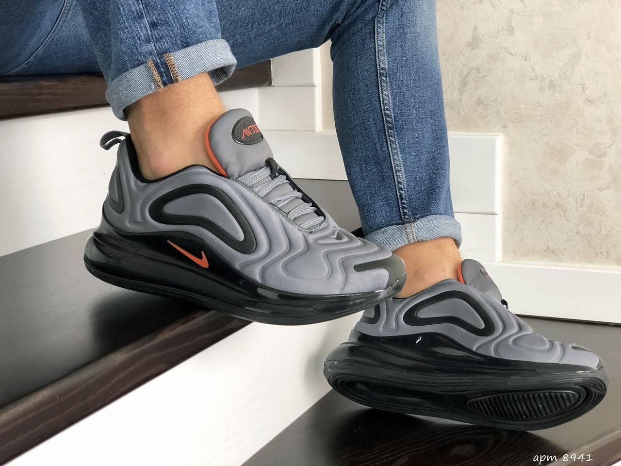 Мужские кроссовки Nike Air Max 720 (серо-черные) 8941