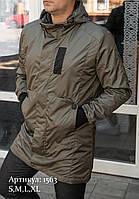 Удлиненная мужская куртка с капюшоном , Хаки