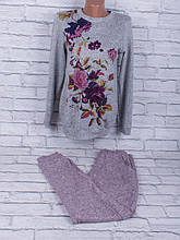 Спортивный костюм из трикотажа ангора-софт с сублимацией на ткани (розовый, серый)