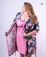 Комплект в роддом халат и сорочка, для беременных и кормящих мам р.42-54