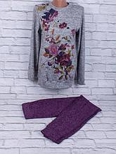 Спортивный костюм из трикотажа ангора-софт с сублимацией на ткани (фиолетовый, серый)