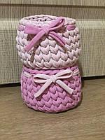 Набор корзинок с бантиком из трикотажа ручная работа