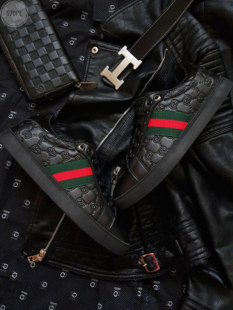 Мужские кроссовки Gucci (черные) 070PL